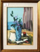 Modern School (20th century), Still Life study of a vase of flowers by a window with coast beyond,