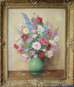 AR Harold Todd (1894-1977), Still Life study of mixed flowers in a jug, oil on canvas, signed