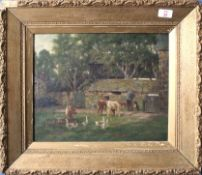"John Crane (19th/20th century), ""Farmyard, Cockesand Abbey"", oil on canvas, signed lower right, 30 x"