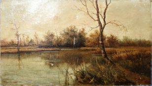 Percy Lionel (19th/20th century), Broadland view, oil on canvas, signed and dated 1890 lower left,