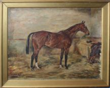"William Wasdell Trickett (19th/20th century), ""Soldier Boy (horse in a stable)"", oil on canvas,"