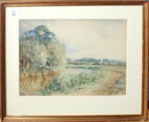 Charles Harmony Harrison (1842-1902), River landscape with distant church, watercolour, signed lower