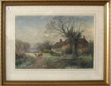 Henry Charles Fox, RBA (1860-1929), Country lane with cattle by a cottage, watercolour, signed and