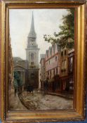 English School (19th century), Street scene in a University town, oil on canvas, indistinctly