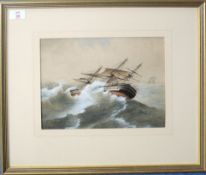 "A T West (19th century), ""HMS Conqueror in a gale"", watercolour, signed and inscribed with title"