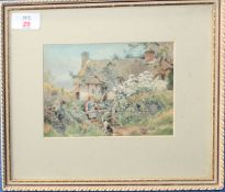 Gertrude Hammond (1862-1953), Cottage at Dunley, watercolour, signed lower right, 12 x 17cm