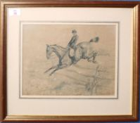 Basil Nightingale (1864-1940), Huntsman jumping a fence, monochrome pencil and watercolour, signed