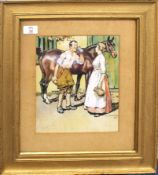 After Alfred J Munnings, Couple and horse before a stable, chromolithograph, 26 x 21cm