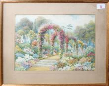 Beatrice Parsons (1870-1955), Garden scene, watercolour, signed and dated 1889 lower right, 26 x