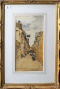 "John Muirhead, signed watercolour, ""Brittany street scene"", 39 x 19cms, Provenance: Aldridge Bros,"