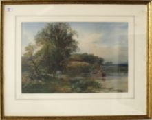 Henry Charles Fox, RBA (1860-1929), River scene with horse drawn barge, watercolour, signed and