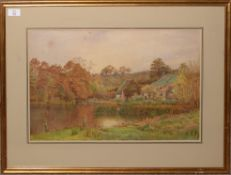 Cyril Ward (1863-1935), River landscape with cottages and figures, watercolour, signed and dated