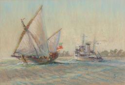"•AR PAT JOBSON, RSMA (1919-2007) ""Off Addu Atoll"" pastel, monogrammed lower right 41 x 59cms"