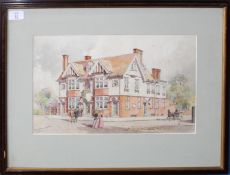 "A R M (20th century), ""The Essex Hotell"", watercolour, signed and inscribed with title lower left,"