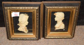 Leslie Ray, London, a pair of 20th Century wax relief silhouettes of an 18th Century Naval officer