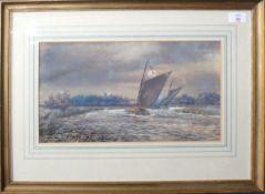 """Steven John Batchelder (1849-1932), """"Racing near Horning Church"""", watercolour, signed lower"""