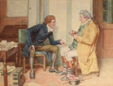 Frank Dadd, RI (1851-1929) Interior scene with two seated gents, watercolour, signed lower left,