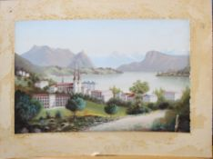 Continental School (19th century), Alpine lakeland scene with town, oil on card, 29 x 44cm,