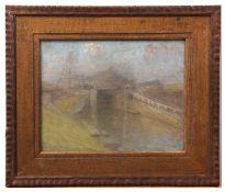 Charles Mertens (1865-1919) River and bridge pastel, signed lower left 23 x 30cm