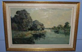 •AR Jack Cox (1914-2007), Norfolk River Scene, oil on board, signed lower right, 45 x 70cm
