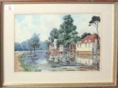 "S Davis (19th/20th century), ""River Lea at Ware, Herts"", watercolour, signed lower left, 23 x 34cm"