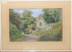 """Elsie V Cole (1885-1967), """"Calbourne, Isle of Wight"""", pastel, signed lower right, 33 x 48cm"""