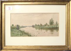 Robert Winter Fraser (19th/20th century), Fenland landscape, watercolour, initialled lower right, 14