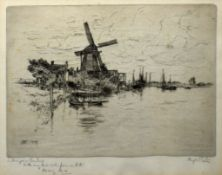 Hugh Paton (1853-1927), Broadland scene, black and white etching, signed in pencil to lower right
