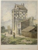 "East Anglian School (19th century), ""A Tower on the Ramparts, Great Yarmouth"", hand coloured"