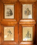 After various (19th century), Titled figurative studies, group of 4 French hand coloured engravings,