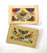 Small quantity of postcards of military interest including two WWI silk cards, postcard of