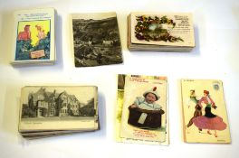 Box containing quantity of postcards including collection of humorous cards, mainly topographical (