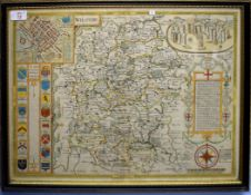 John Speed - Wiltshire, hand coloured engraved map, 40 x 53cm