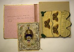 Edwardian valentines card together with a piece of embroidery and folder containing a cotton