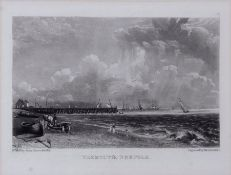"After John Constable, engraved by David Lucas, ""Yarmouth, Norfolk"", black and white mezzotint , 14 x"
