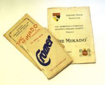 Two mid-20th century concert programs, one for The Mikado by the Aylsham Amateur Operatic and