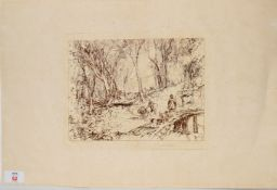 Sir Frank Short, RA (1857-1945), Hunt party in wooded landscape (after JMW Turner), sepia etching,