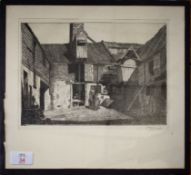 "Henry James Starling, ARE, (1895-1996), ""A Millers Yard, Quayside, Norwich"", black and white"