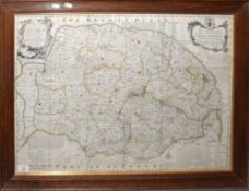 Emanuel Bowen - an accurate map of the County of Norfolk, hand coloured and engraved map, 53 x 72cm
