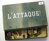 "French board game entitled ""L'Attaque"", comprising a number of cardboard soldiers and mounts (qty)"