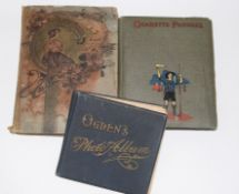 Group of three postcard albums, the first with Art Nouveau decoration including local views of