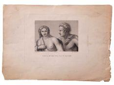 """After Giorgione, engraved by G Fusinati, """"Ninfa Inseguita da un Satiro"""", black and white engraving"""