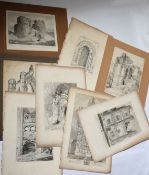 After John Sell Cotman (1782-1842), Titled Abbeys, Churches etc, group of 8 soft ground engravings