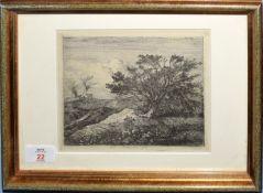 "John Crome (1768-1821), ""At Bawburgh"", black and white etching circa 1812, 14 x 18cm"