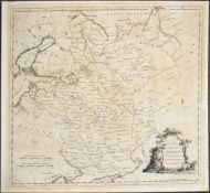 J Barber - hand coloured engraved map of Russia, 34 x 37cm laid down, unframed
