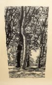 "Ethel Gabain (1883-1950), ""The Elm and the Ash"", black and white lithograph, signed in pencil to"