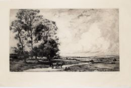 "Charles Henry Baskett (1872-1953), ""The road to the Uplands"", black and white etching and"