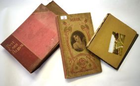 Group of three Art Nouveau style postcard albums, mostly blank