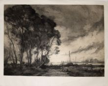 "Charles Henry Baskett (1872-1953), ""The Dawn Wind"", etching and aquatint, signed in pencil to"