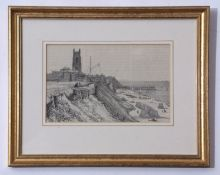 "English School (19th century), ""Cromer, 1823"", black and white lithograph, 12 x 19cm, together"